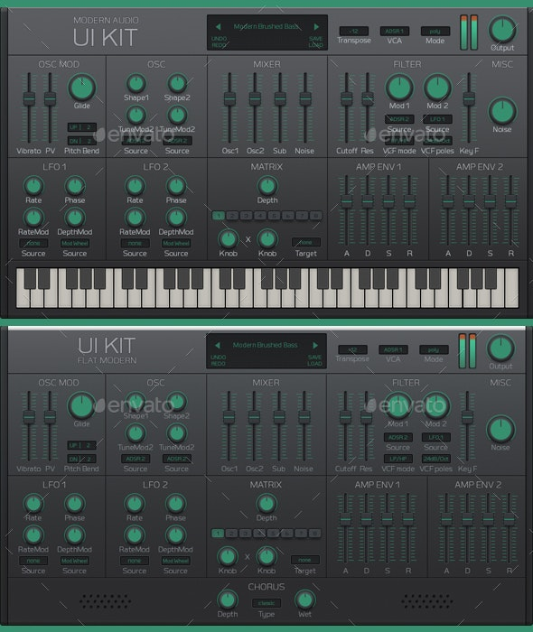 Modern Audio Synth UI Kit