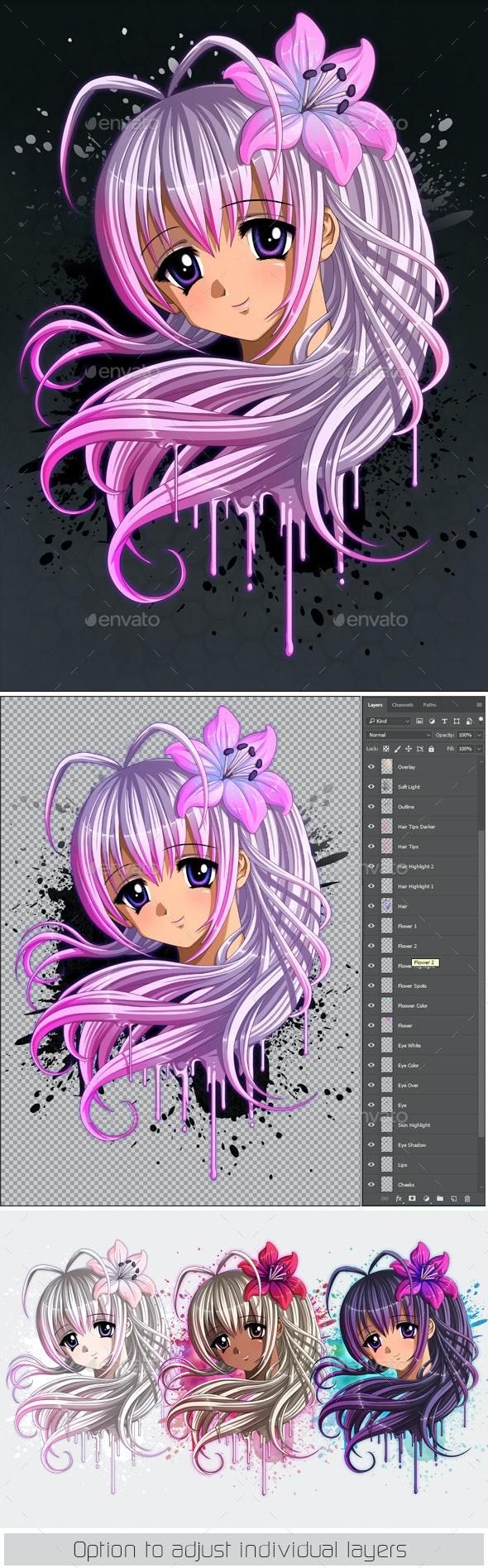 Anime Portrait- Manga Girl