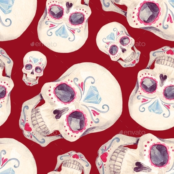 Watercolor Skull Seamless Pattern - Patterns Backgrounds