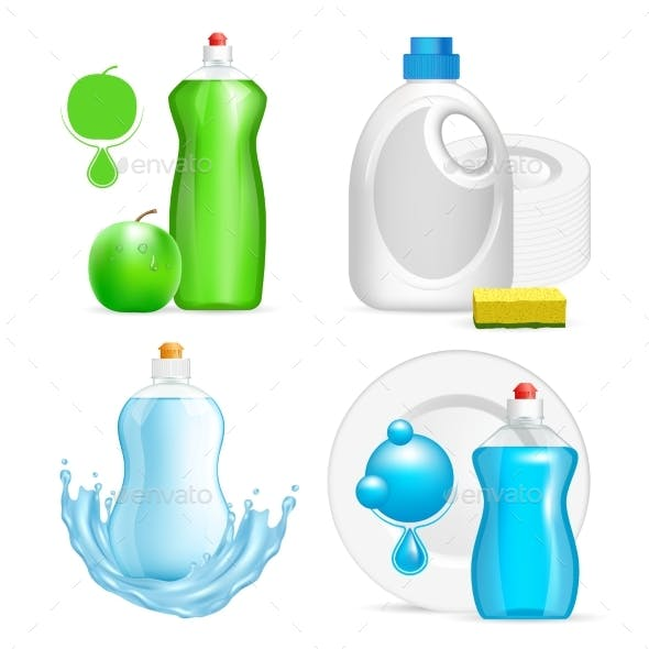 Vector Realistic Dishwashing Liquid Product Icon
