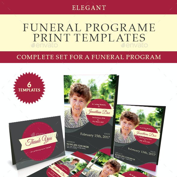 Elegant Funeral Program Templates Combo Set