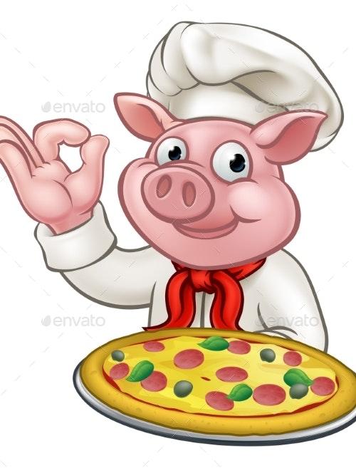 Cartoon Pizza Chef Pig Character Mascot by Krisdog ...