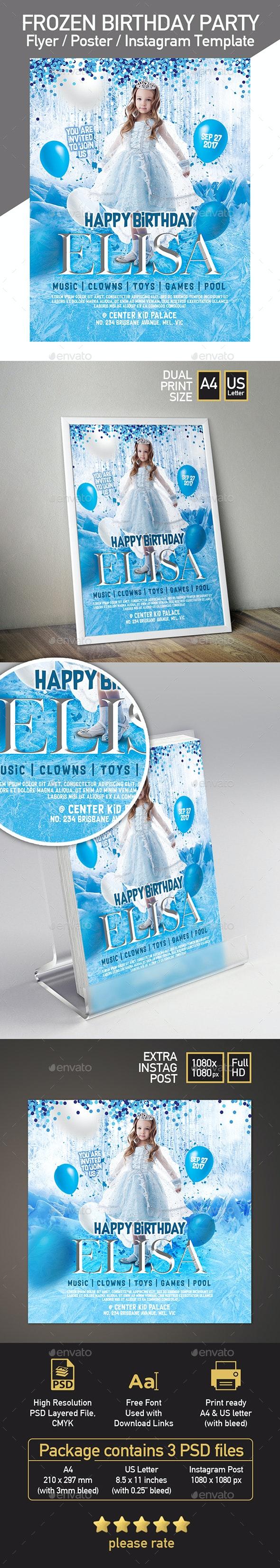 Frozen Theme Kid Birthday Invitation / Flyer / Poster / Instagram Post - Flyers Print Templates
