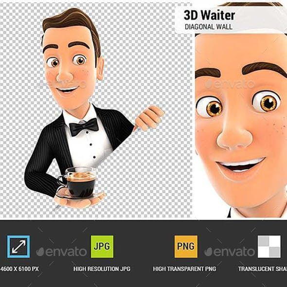 3D Waiter Behind Diagonal Wall