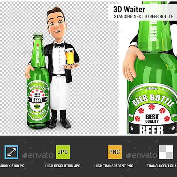 3D Waiter Standing Next to Beer Bottle