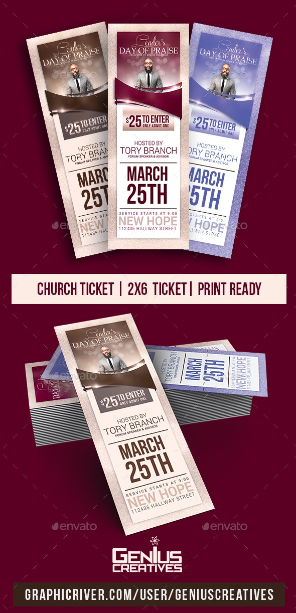 Leader's Day Church Ticket Template