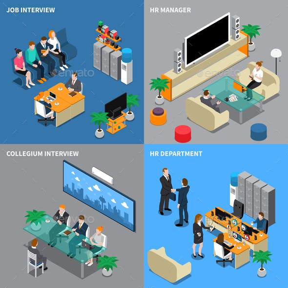 Recruitment Hiring HR Management Isometric People