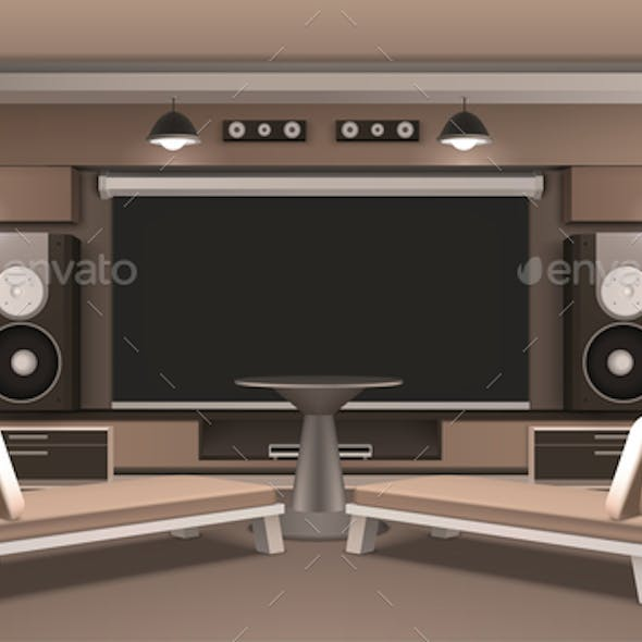 Home Cinema Interior With Round Table