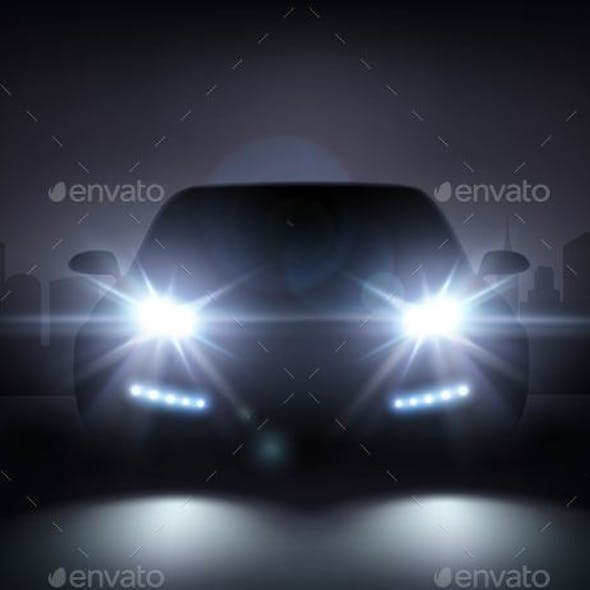 Modern Car Lights Composition