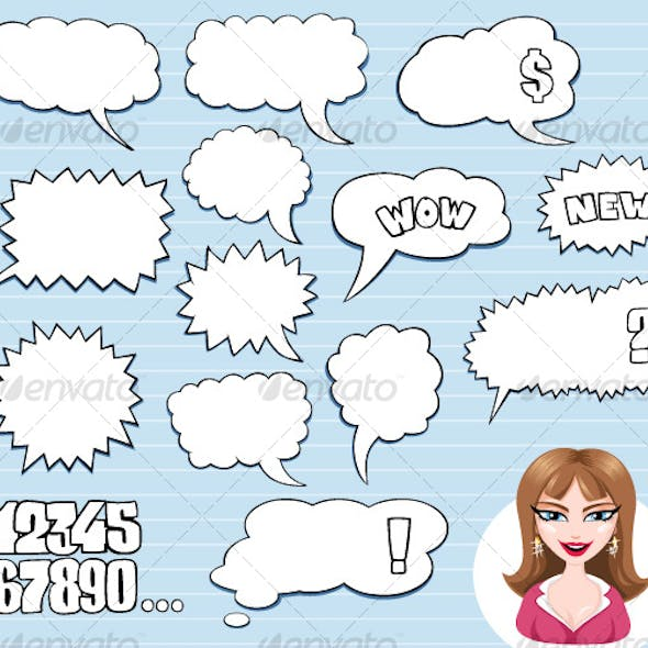 Speech Bubbles and Brown Hair Girl Avatar