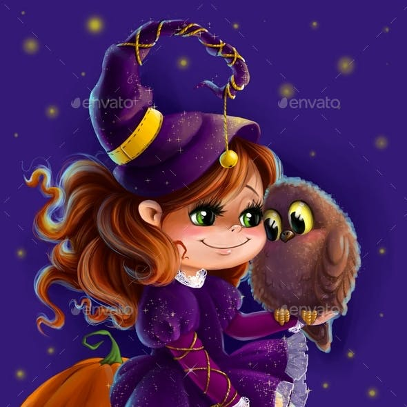 Illustration of a Halloween Witch with Owl