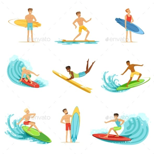 Surfboarders Riding on Waves Set, Surfer Men
