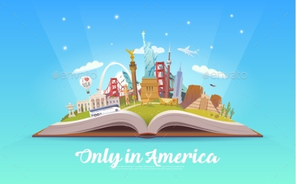 Travel To America. Open Book with Landmarks. - Buildings Objects