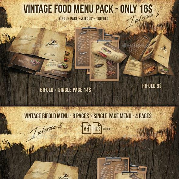 Infernos Vintage Menu Bundle