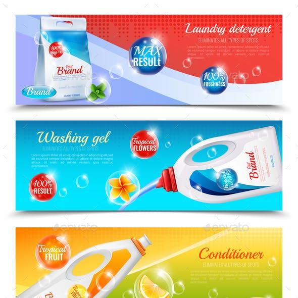 Detergents Clothes Horizontal Banner Set
