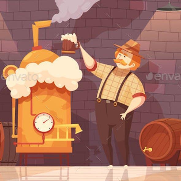 Beer Brewer Vector Illustration