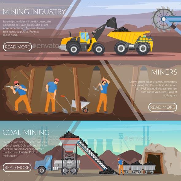 Mining Industry Horizontal Flat Banners