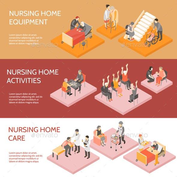 Nursing Home Isometric Horizontal Banners