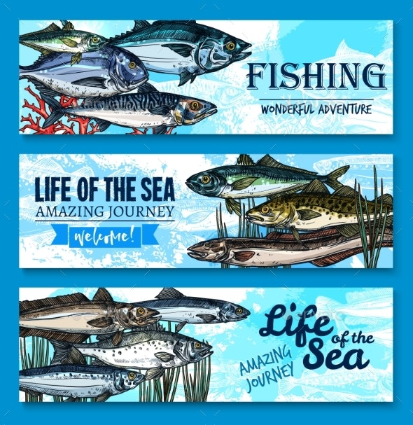 Vector Fish Banners for Sea Fishing Adventure - Animals Characters