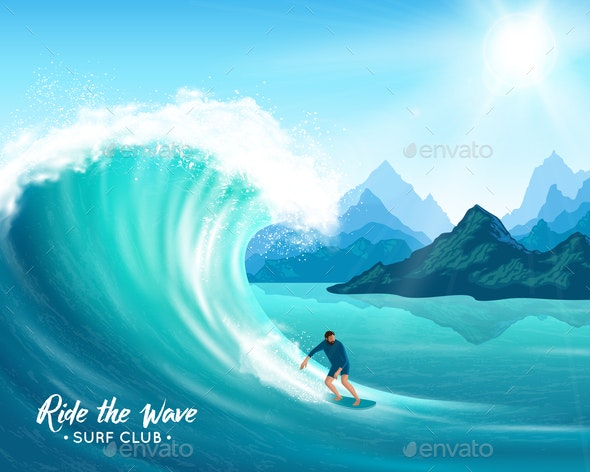 Surfer and Wave Illustration - Sports/Activity Conceptual
