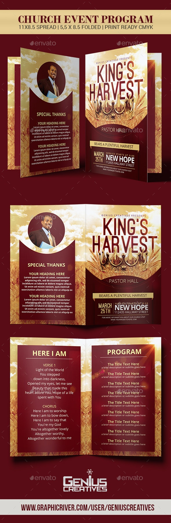 King's Harvest Church Program Template - Informational Brochures