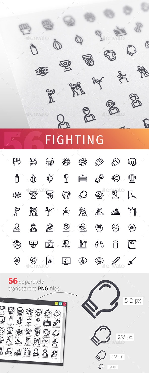 Fighting Line Icons Set - Objects Icons