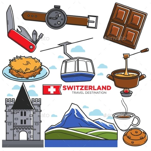 Switzerland Travel Sightseeing Icons and Vector