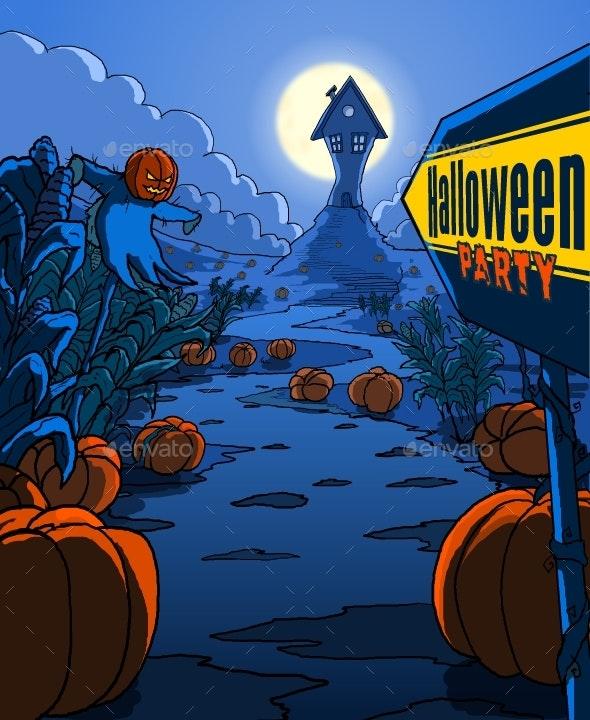 Halloween Party Illustration Poster - Halloween Seasons/Holidays
