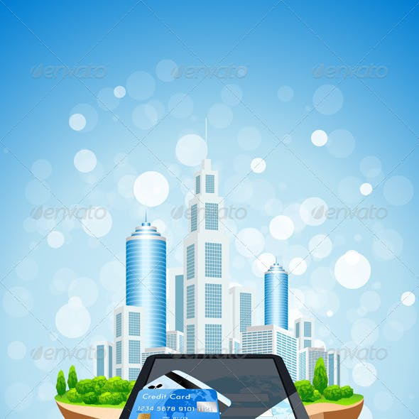 Blue Background with City Island Credit Card and T
