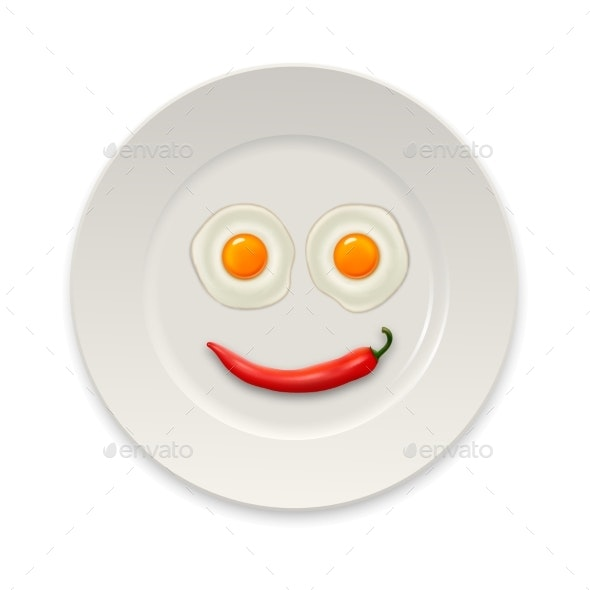 Two Realistic Fried Eggs and Red Hot Chili Pepper - Food Objects