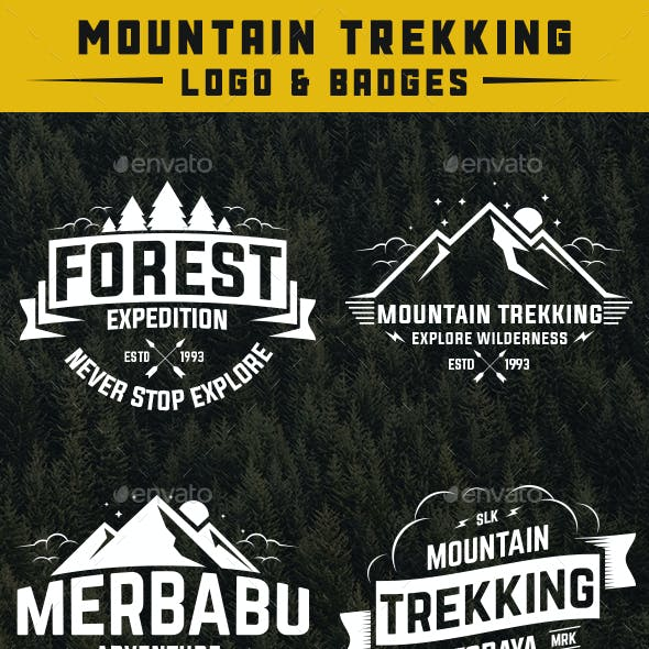 Mountain Trekking Logo and Badge