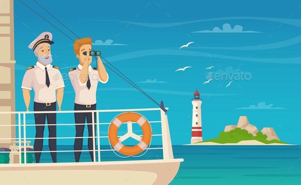 Ship Crew Captain Cartoon Poster - Miscellaneous Vectors