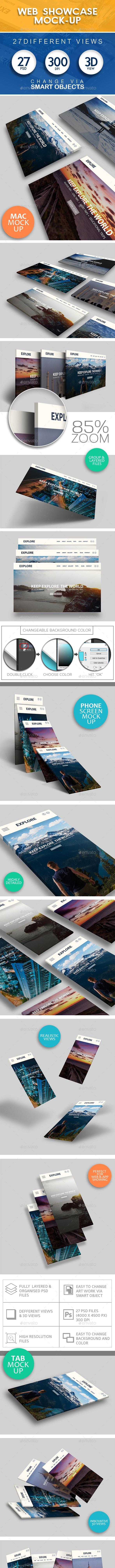 Web Showcase Mockup (27 Views) | 3D Views | Web and Mobile App Showcase - Product Mock-Ups Graphics