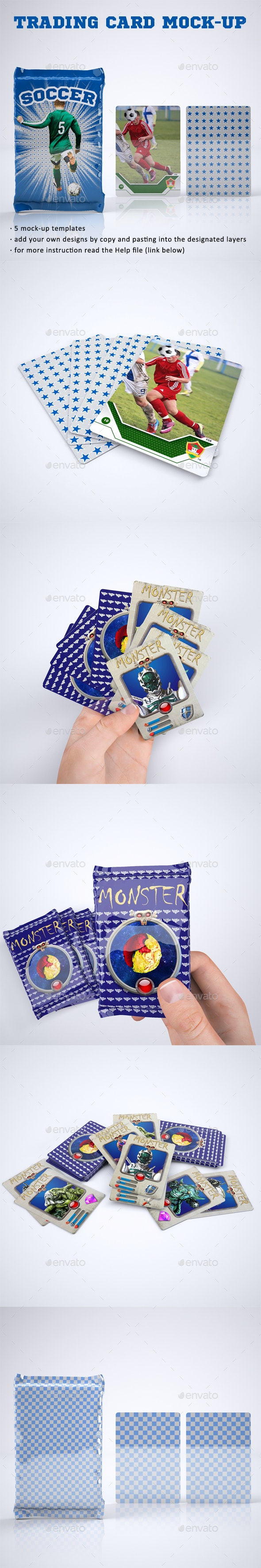 Trading Card or Collectible Card and Wrappers Mock-Up - Print Product Mock-Ups
