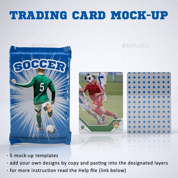 Trading Card or Collectible Card and Wrappers Mock-Up