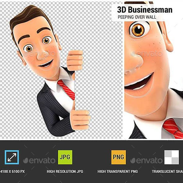 3D Businessman Peeping Over Blank Wall