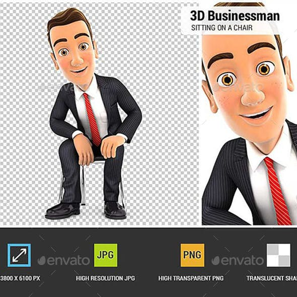 3D Businessman Sitting on a Chair