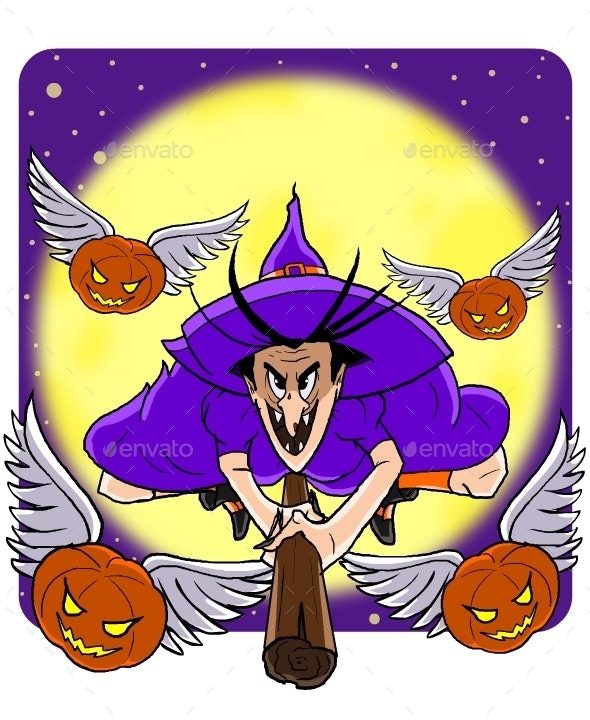 Witch and  Flying Pumpkins - Miscellaneous Characters
