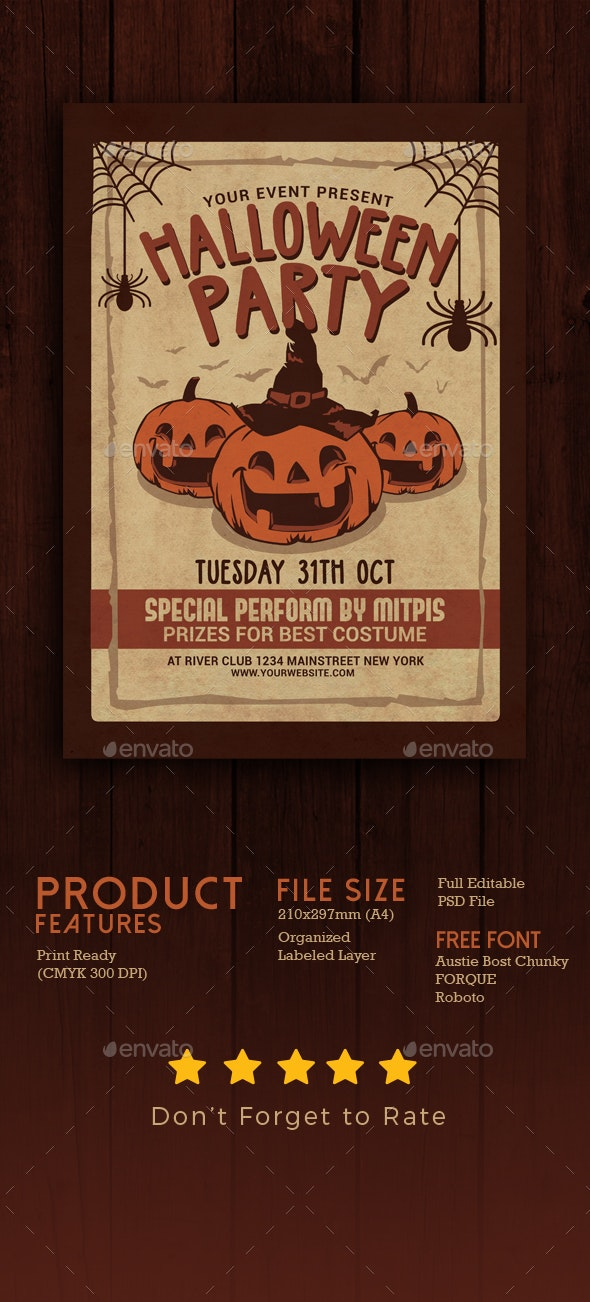 Halloween Party Vintage Flyer - Clubs & Parties Events