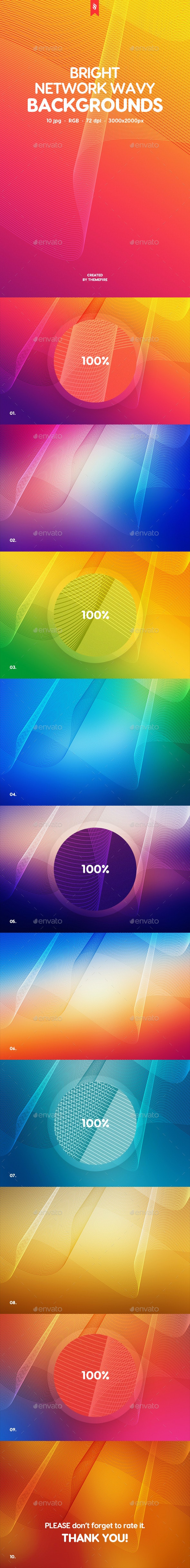 Abstract Bright Network Wavy Backgrounds - Abstract Backgrounds