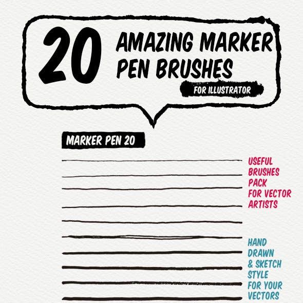 20 Marker Pen Art Brushes
