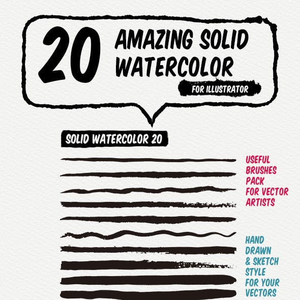 20 Solid Watercolor Art Brushes