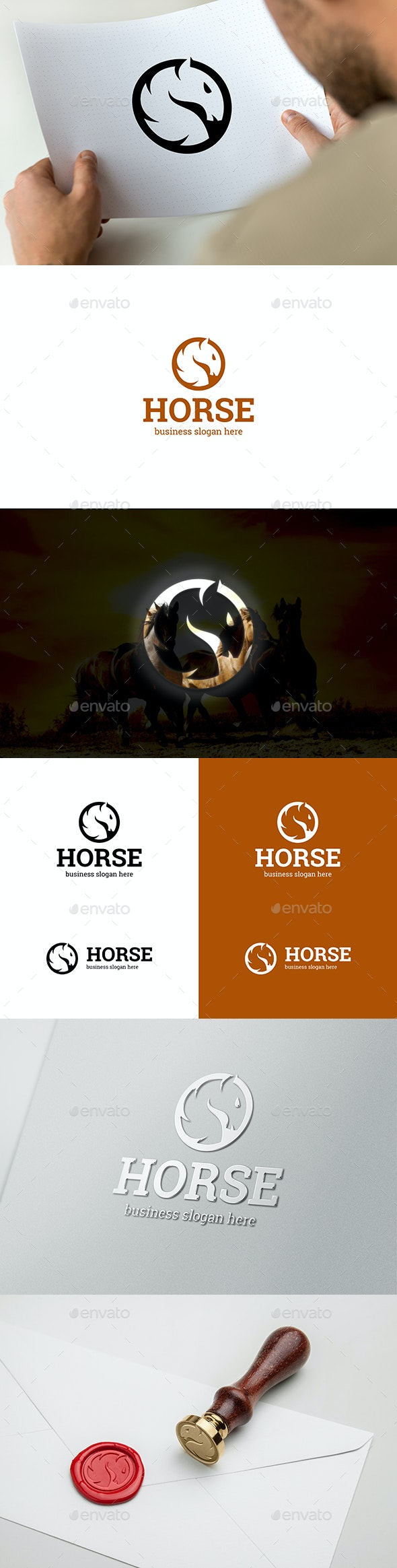 Horse Head Elegant Brand Logo - Animals Logo Templates