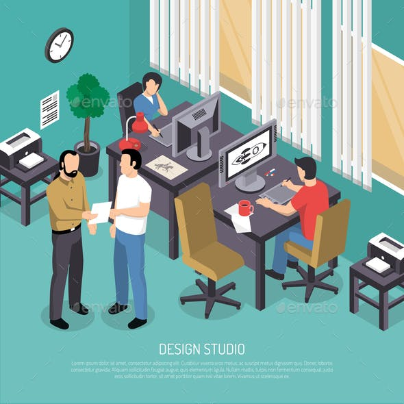 Design Studio Isometric Illustration