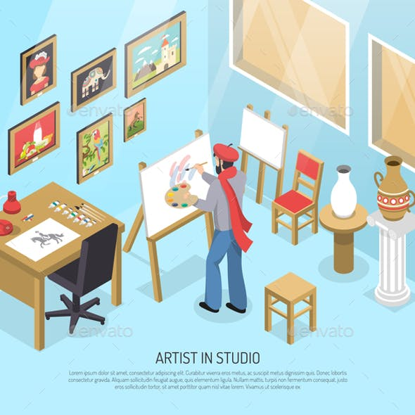 Artist In Studio Isometric Illustration