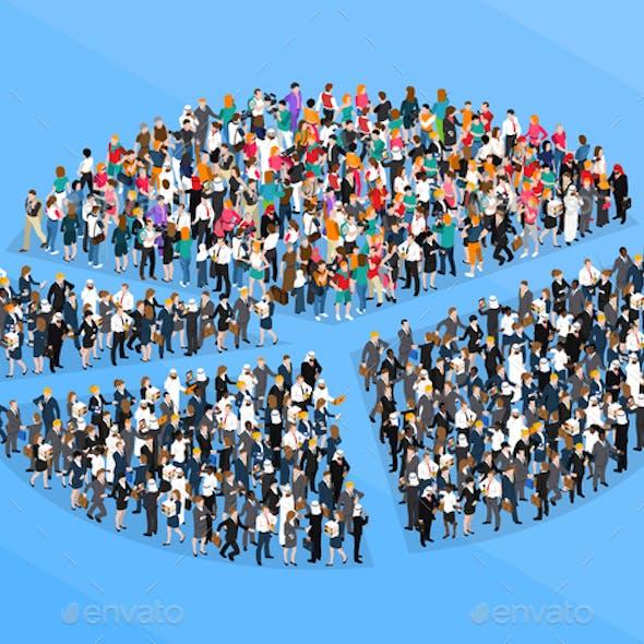 Crowd People Isometric Pie Chart