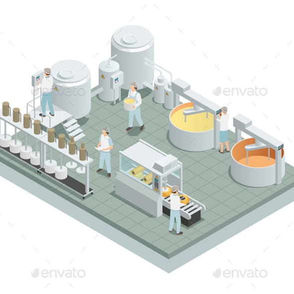 Cheese Production Factory Isometric Composition