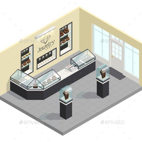 Jewelry Shop Isometric Interior
