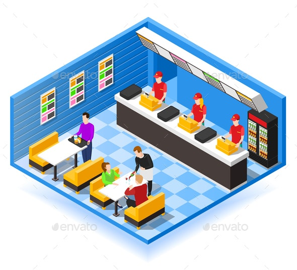 Fast Food Isometric Background - Miscellaneous Vectors