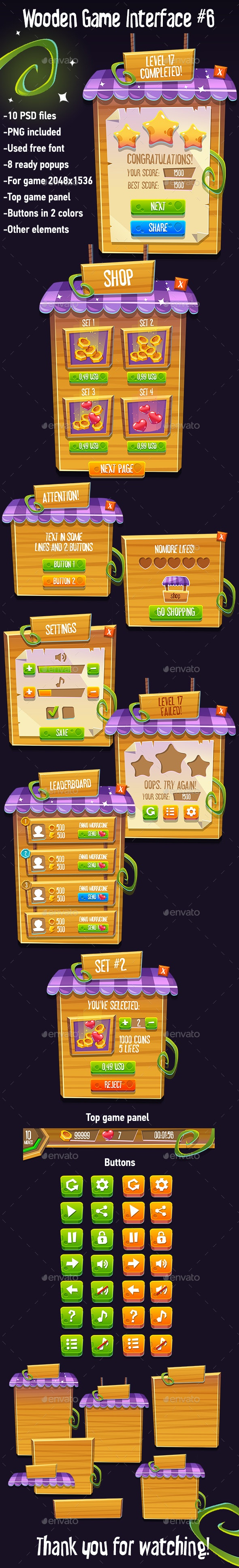 Wooden Game Interface #6 - User Interfaces Game Assets
